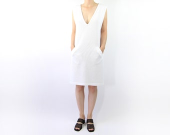 VINTAGE White Dress Sleeveless Low Cut Swimsuit Cover