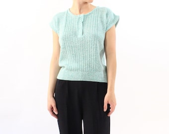 VINTAGE 1980s Pastel Knit Top Mint Green