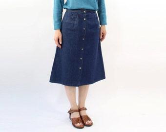 VINTAGE Denim Skirt Button Up Dark Blue Small