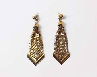 VINTAGE Mesh Metal Earrings Dangling Pierced