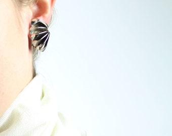 VINTAGE Silver Fanned Earrings 1960s Clip Ons