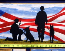 Military Fabric Panel Military Service Dogs  Paws of Valor Fabric Military Dog Fabric Men and Women Service Cotton Classics