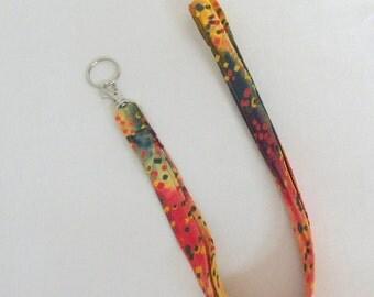 Handmade Lanyard Badge Holder Key Ring Fiesta Cotton Batik Fabric Lanyard  Key Ring ID Holder  Teacher Gift Medical Staff Gift Idea