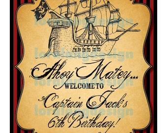 DIY Printable Pirate Birthday Party Yard Sign