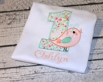 "Girl's Personalized ""Sweet Tweets"" Bird  Birthday Shirt, Girl's Bird Birthday Shirt, Personalize with your child's age and name"