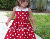 The Marilyn Dress - Red and White Polka Dots - Minnie Mouse Inspired - Minnie Mouse Birthday - First Birthday Outfit- Vintage Inspired Dress