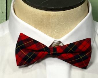 Vintage Red Plaid Bow Tie, kinny  Bow Tie, Adjustable Bow Tie, Preppy Red Bow Tie