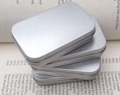 rectangular metal tins, blank hinged tins, color silver 50ml tin box, business card size, set of 6 tins