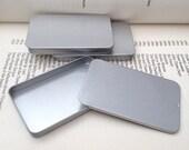 40ml sliding lid tins, rectangular metal tins, silver color, flat business card holder (a set of 100 tin boxes)