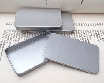 40ml sliding lid tins, rectangular metal tins, silver color, flat business card holder (a set of 100 tin boxes)