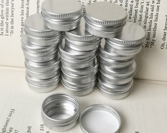 10ml screw lidded metal tins, blank round silver color, a set of 100 tin boxes, small storage for diy project