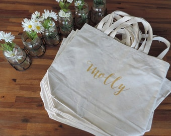 One Custom Name Large Natural Tote Bag with Pockets // Wedding // Gifts // Bridesmaids