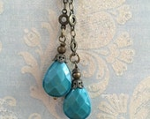 sale NEW Double drop dangle Vintage Style Wire wrapped capped dangle charm Deep Sea Blue opal faceted crystal drops suspended from chain