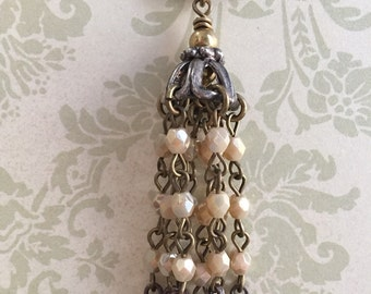 NEW  French Finery Chandelier Dangle Drop Ornate Tassel Crosses beaded chain and pave rhinestones 1 piece