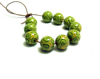 Handmade floral beads. Polymer clay beads. Millefiori beads. Fimo beads. Rose beads. Round small beads.Lemon Green.