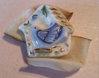 Vintage Ceramic Brooch Pin Bird Bird House with Bow