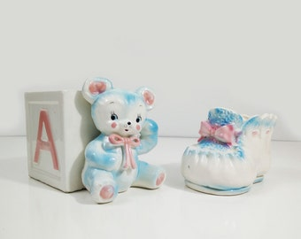 Baby bootie and Napcoware teddy bear ABC block planter, nursery decor / Vintage pink & blue baby themed ceramics