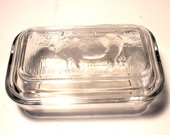 Glass Butter Dish by ARC France 1970's