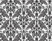 Hollywood Medium Damask Black on White Fabric - 1 Yard