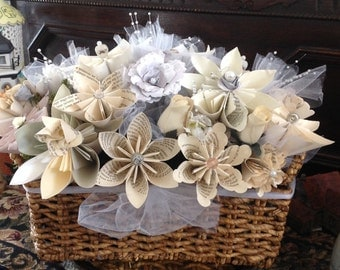 Wedding Centerpiece Origami Sheet Music or Book Page Flowers 15 Included