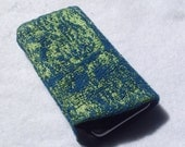 Cell phone sleeve - iridescent blue & green