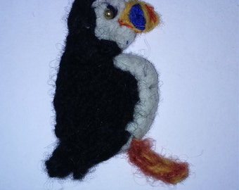 Puffin pin brooch felted crochet charming little bird with loads of character.