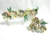Set of 2. Kanzashi, Tsumami kanzashi, japanese traditional hair ornament. kanzashi flower. Decorative hair comb, hair pin.