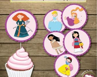 Movie Princess Cupcake Toppers - Digital File