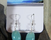 Large aqua amazonite earrings turquoise blue green oblongs semiprecious stone jewelry packaged in a colorful gift bag 2976 A B
