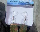 Green and pink unakite square earrings granite rainforest rhyolite semiprecious stone jewelry packaged in a colorful gift bag 2956 AB