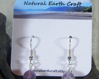 Purple faceted fluorite earrings semiprecious stone jewelry gemstone jewelry packaged in a colorful gift bag 2960