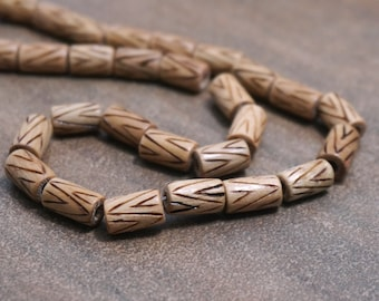 Chevron Wood Beads, 12mm x 7mm barrel tube, burnt carved design, natural woodgrain, tribal inspired  (1220R)