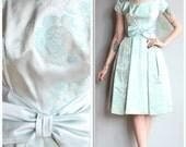 1950s Dress // Silver Rose Dress // vintage 50s dress