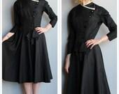 1950s Dress // Tuxedo Ready Party Dress // vintage 50s dress