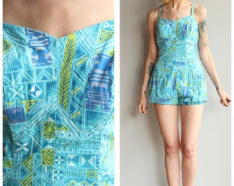 1950s Swimwear // Tiki Party Swim/Playsuit // vintage 50s bathing suit