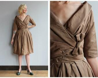 1950s Dress // Bronze Suzy Perette Dress // vintage 50s silk dress