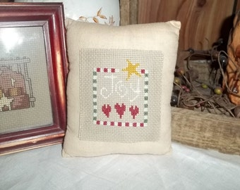 Primitive Hand Made Pillow Bowl Filler Tuck JOY