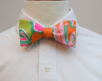 Men's Bow Tie, pink orange green bow tie, wedding bow tie, groom bow tie, groomsmen gift, prom bow tie, Lilly bow tie, Going Stag design,