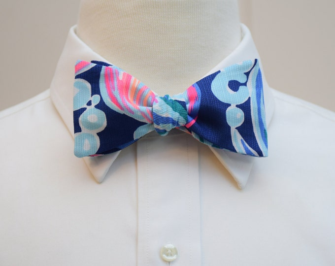 Men's Bow Tie, Going Coastal navy/pink Lilly print, groomsmen gift, wedding bow tie, groom bow tie, prom bow tie, Carolina Cup/Derby bow tie