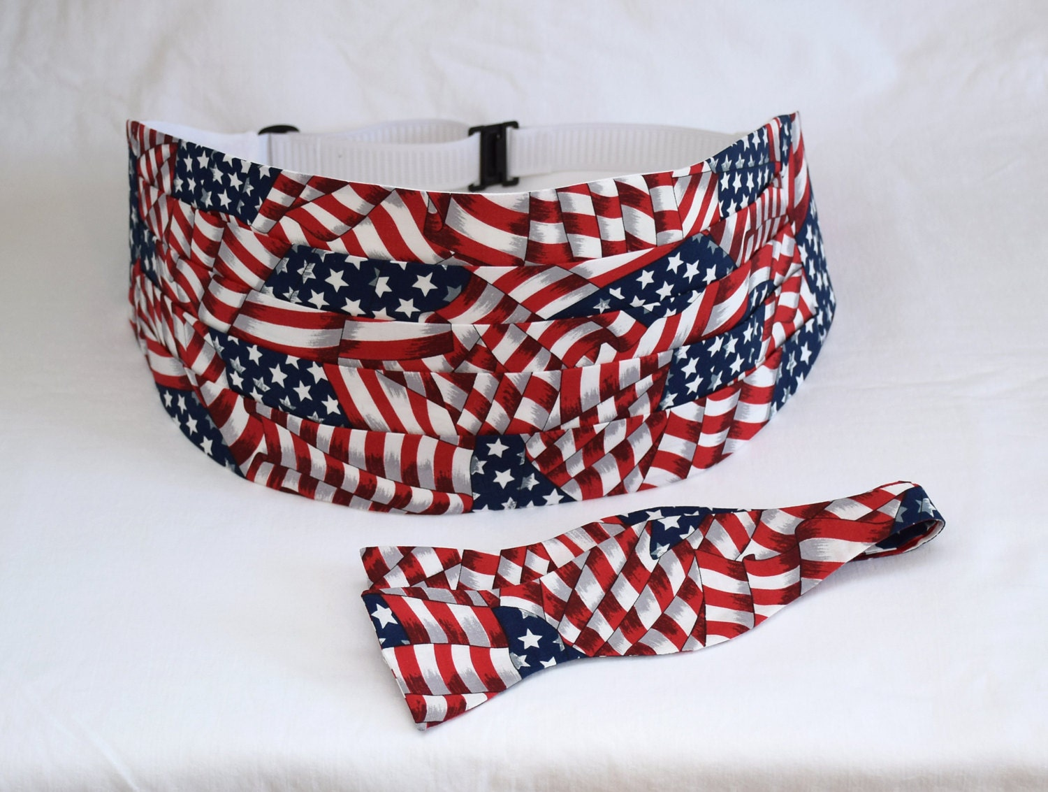 American Flag Cummerbund and Tie Set - Tuxedos Direct