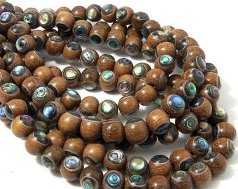 Magkuno Wood with Abalone Shell Inlay, 8mm, Round, Smooth, Natural Wood, Handmade Artisan Beads, Small, 8 Inch Strand - ID 1793