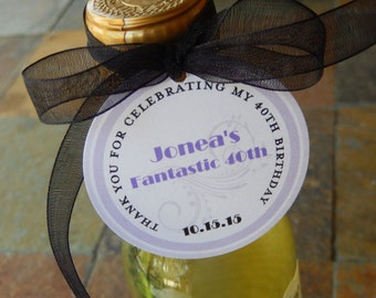 "50 Custom Birthday  2"" Thank You Favor Tags - For Mini Wine or Champagne Bottles - Fantastic 40th - Party Favors - Printed Gift Tags"