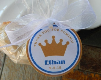 "Birthday Crown or Tiara Favor Custom Tags - For Cake Pops - Lollipops - Cookies - Party Favors - (50) 1.5"" Personalized Printed Tags"