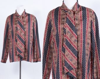 Vintage 1980s Tie Silk Menswear Print Bow Blouse * Ascot Tie Navy Maroon Camel * Preppy Executive * Size Large * FREE SHIPPING