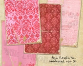 Pink and Red Digital Paper valentines day holiday birthday party celebration wedding shower invitation damask princess scrapbook