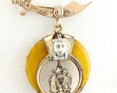 Antique Shriner Lapel Pin - Sterling Silver and  Gold Plate