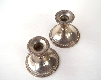 Silver candleholders set of 2 Rogers sterling weighted reinforce 1901 vintage