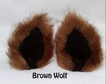 Brown Fuzzy Wolf Ear Clips Kitty ears Brown Werewolf ears