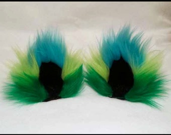 Spring Three Color Fuzzy Cat Ear Clips Green Lime Teal