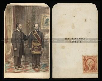 Rare 1860s Trick Double Exposure Photo ~ Detroit Freemason w Civil War Tax Stamp